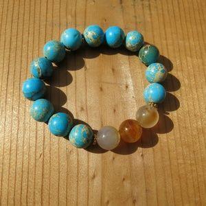 Blue Turquoise and Citrine Gemstone Bracelet